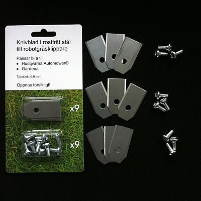 9 knivar/knivblad till robotgräsklippare